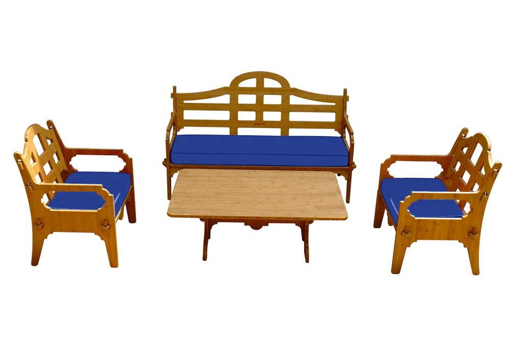 Mẫu bàn ghế phòng khách chạy CNC từ tấm tre lắp ghép