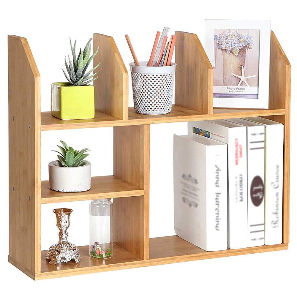 Kệ sách Mini để bàn gỗ tre