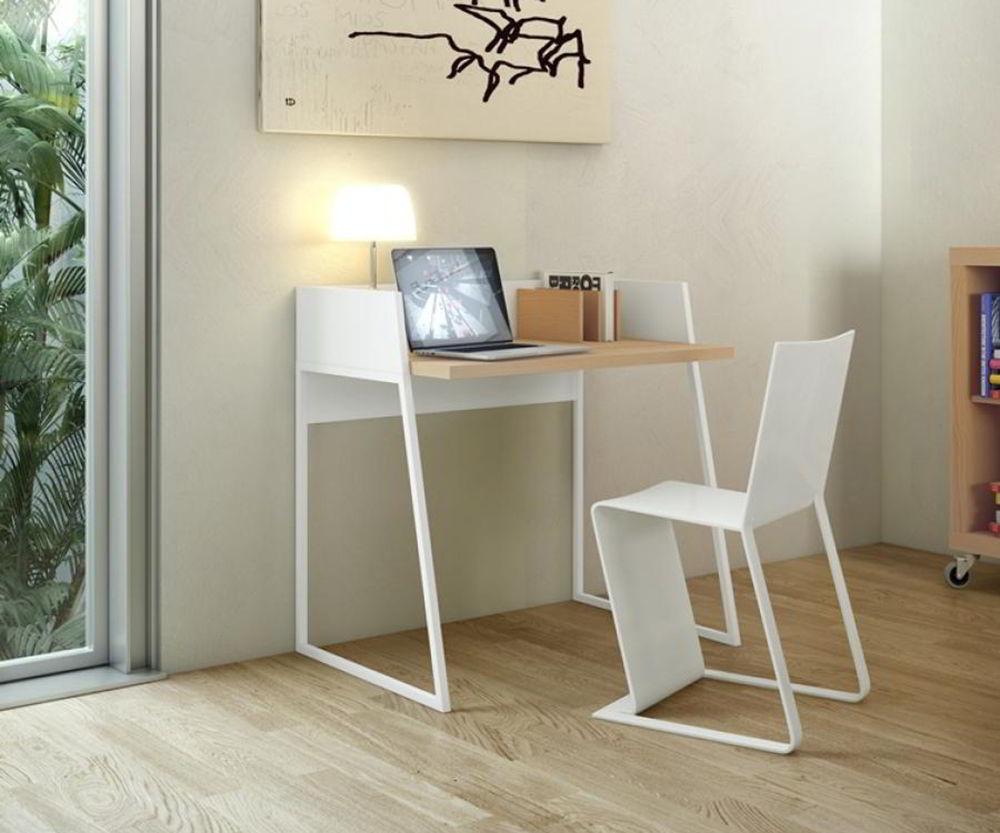 bộ bàn ghế làm việc nhỏ gọn màu trắng