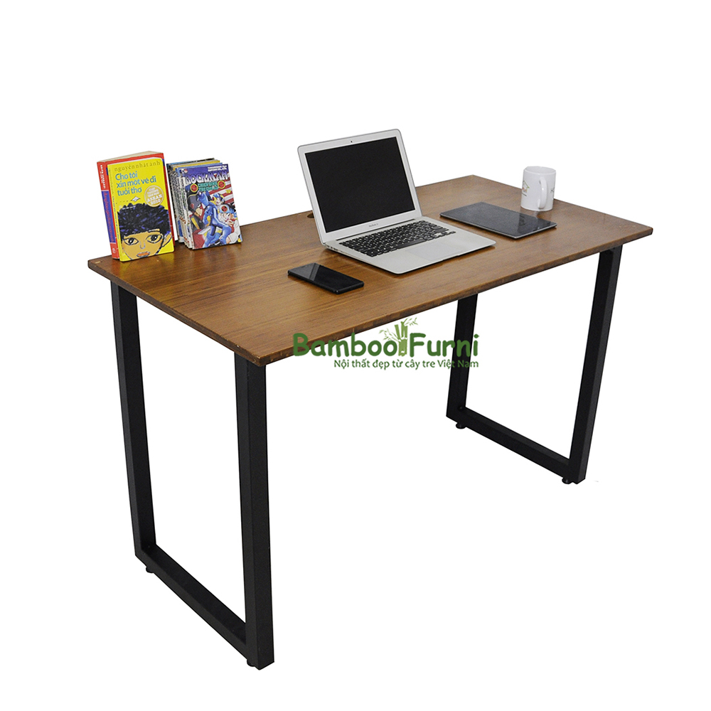 bàn làm việc chân gấp bằng ván gỗ tre