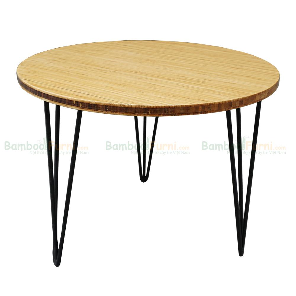 Bàn sofa gỗ tre tròn 60cm chân hairpin