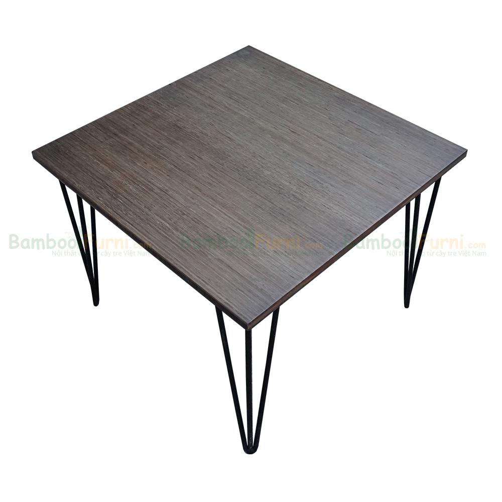 Bàn sofa gỗ tre vuông 60cm chân hairpin
