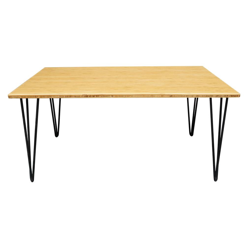 bàn sofa gỗ tre chân hairpin