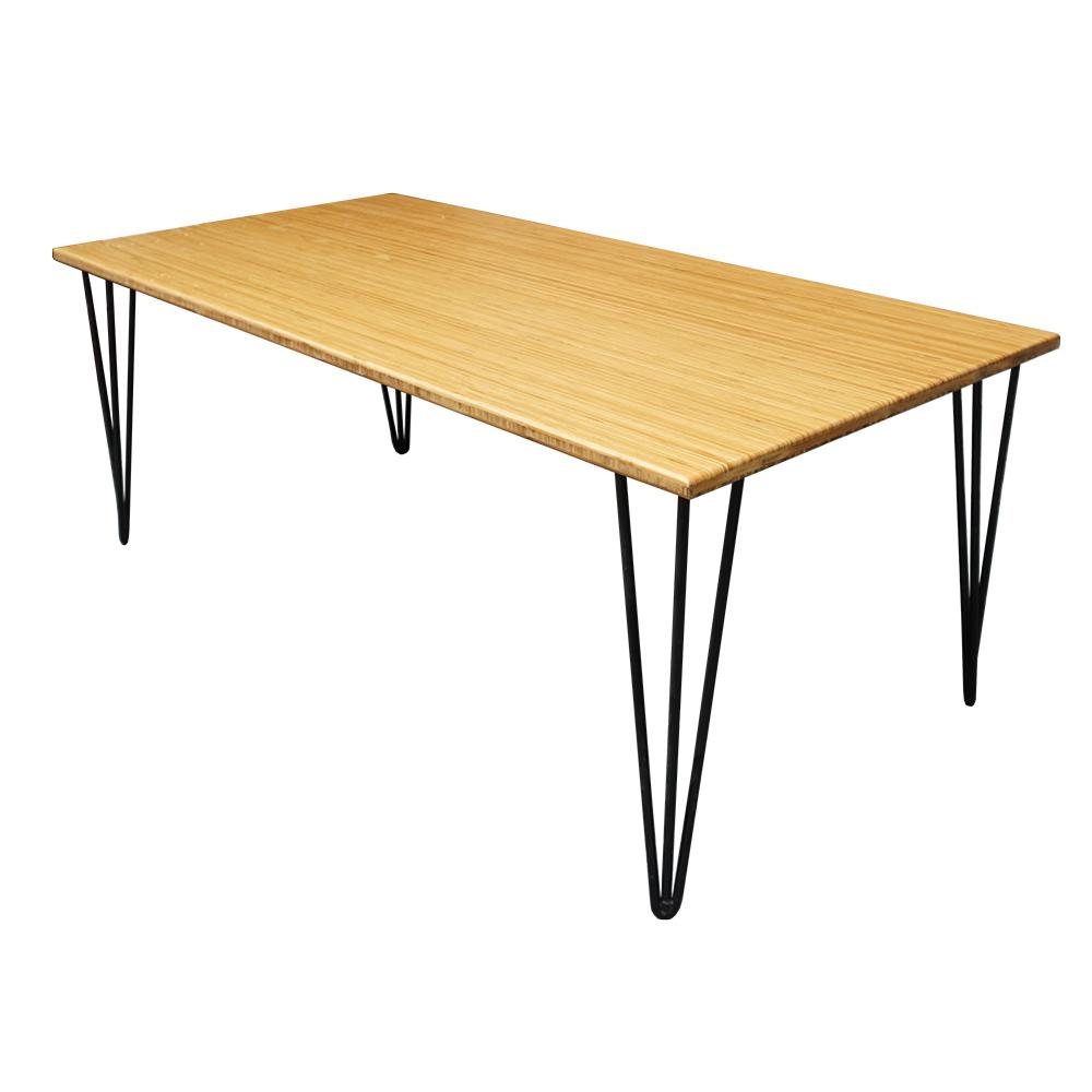 bàn trà gỗ tre chân Hairpin