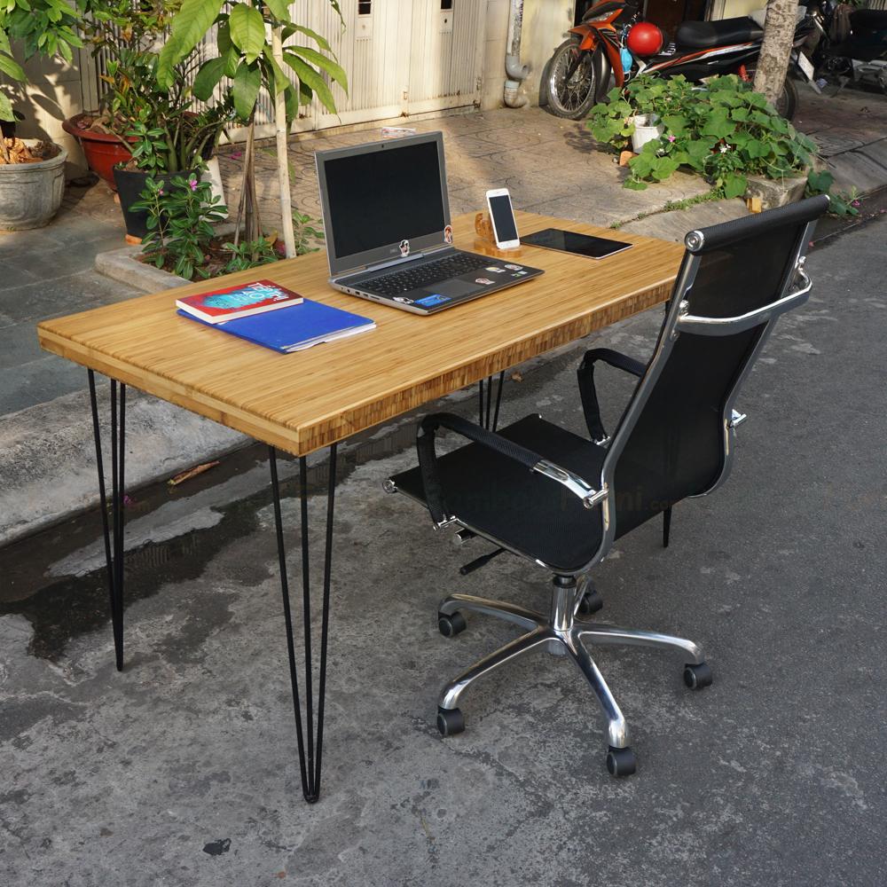 bàn làm việc 70x140cm chân hairpin gỗ tre dày 5cm