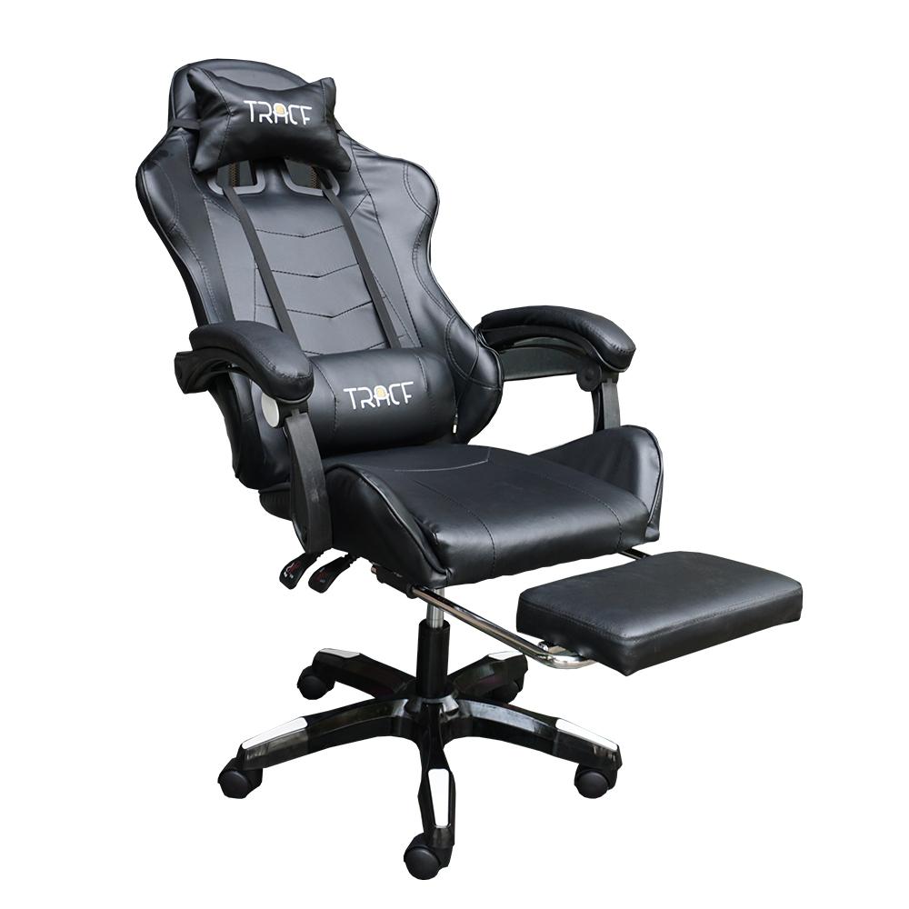 Ghế game thủ trắng đen kết hợp loa có thể ngả nằm