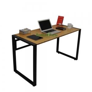 SB003a - Bàn làm việc gỗ tre khung sắt viền màu tự nhiên - 120x60x75 (cm)