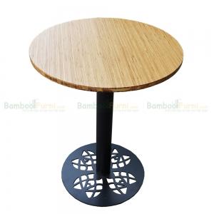 CFB011 - Bàn CafeBamboo tròn 60cm màu tự nhiên chân sắt hoa văn