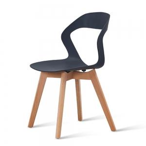 BFG028 - Ghế cafe lưng nhựa chân gỗ sồi