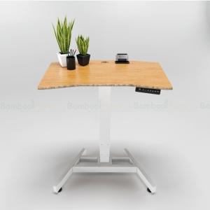 FB014 - Bàn FlexiBamboo Coffee 1 chân chỉnh điện 3 khớp gỗ tre ép