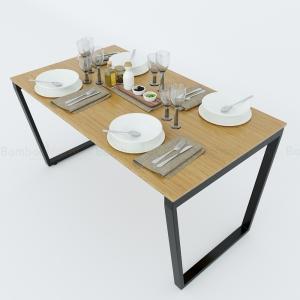 BFBA012 - Bàn ăn gỗ tre chân sắt Trapez140x80cm