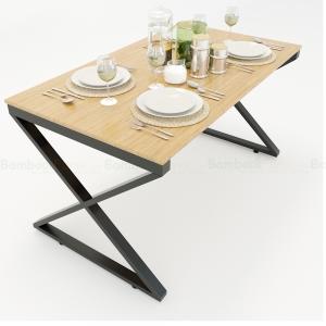 BFBA016 - Bàn ăn gỗ tre chân chữ X 140x80cm