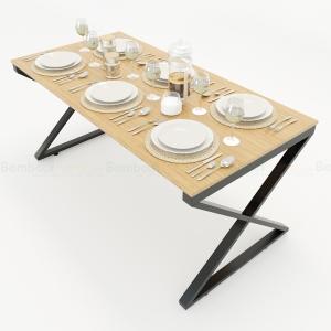 BFBA017 - Bàn ăn gỗ tre chân sắt chữ X 160x80cm