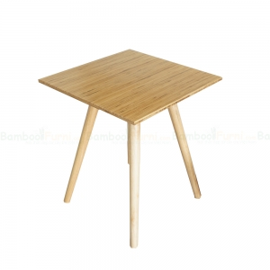 CFB016- Bàn CafeBamboo vuông 60cm màu tự nhiên chân gỗ