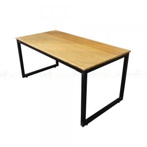BFBA011 - Bàn ăn gỗ tre chân sắt Rec 160x80cm