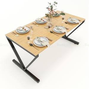 BFBA019 - Bàn ăn gỗ tre chân sắt chữ V 160x80cm