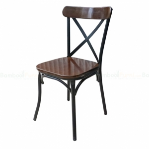 BFG052 - Ghế cafe lưng tựa bằng sắt sơn tĩnh điện màu nâu