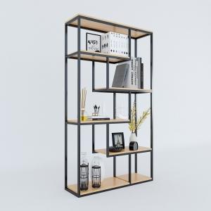 BFKS010 - Kệ trang trí gỗ tre khung sắt 100x30x170cm