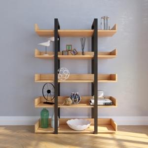 BFKS013 - Kệ trang trí gỗ tre khung sắt 100x35x140cm