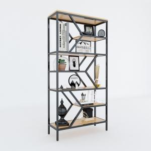 BFKS003 - Kệ trang trí gỗ tre khung sắt 30x80x160cm