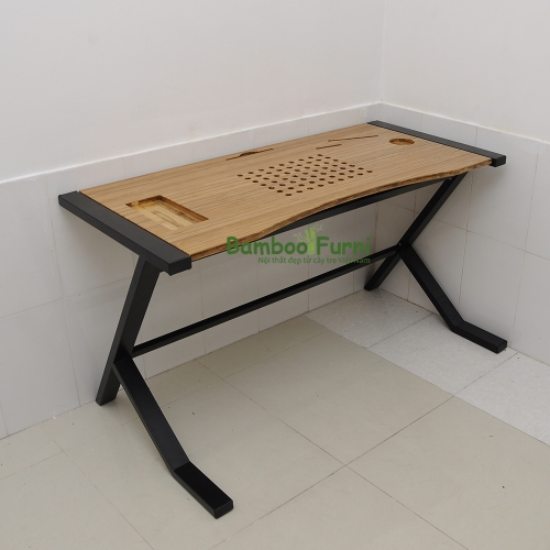 ZB010a - Bàn công nghệ gỗ tre ghép chân nhật tự - 120x60x75 (cm)