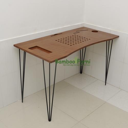 ZB004b - Bàn công nghệ gỗ tre ghép chân cách điệu - 120x60x75 (cm)