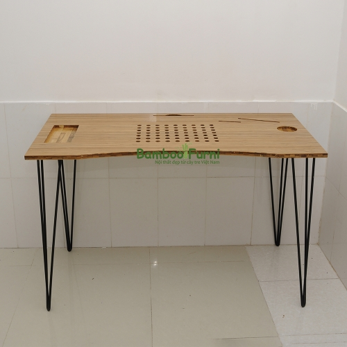 ZB004a - Bàn công nghệ gỗ tre ghép chân cách điệu - 120x60x75 (cm)
