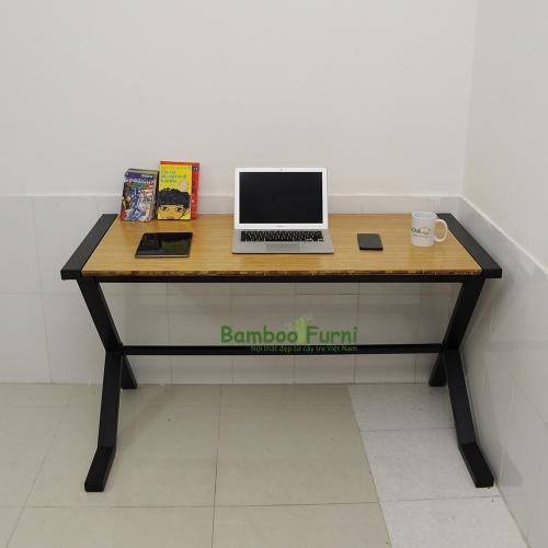 SB010a - Bàn làm việc gỗ tre ghép đơn giản chân nhật tự - 120x60x75 (cm)