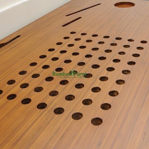 Bàn công nghệ gỗ tre zBamboo màu cánh gián chân L