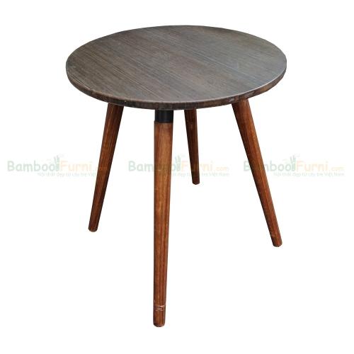 CFB007- Bàn CafeBamboo tròn 60cm màu nâu chân gỗ