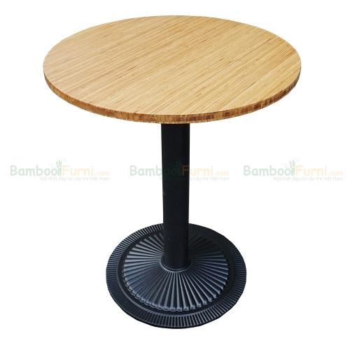 CFB004 - Bàn CafeBamboo tròn 60cm màu nâu chân gang đúc