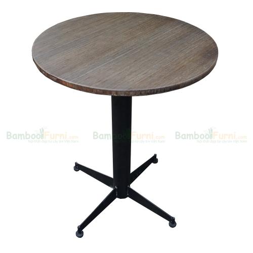 CFB009 - Bàn CafeBamboo tròn 60cm màu nâu chân sắt