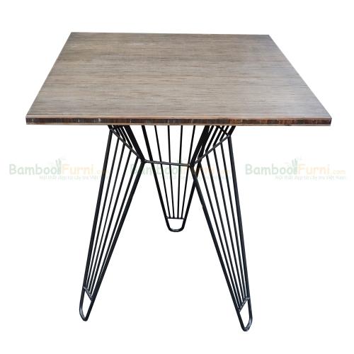 CFB010 - Bàn CafeBamboo vuông 60cm chân sắt lap