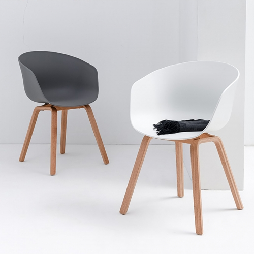 BFG044 - Ghế tựa lưng HAY bằng nhựa chân gỗ sồi