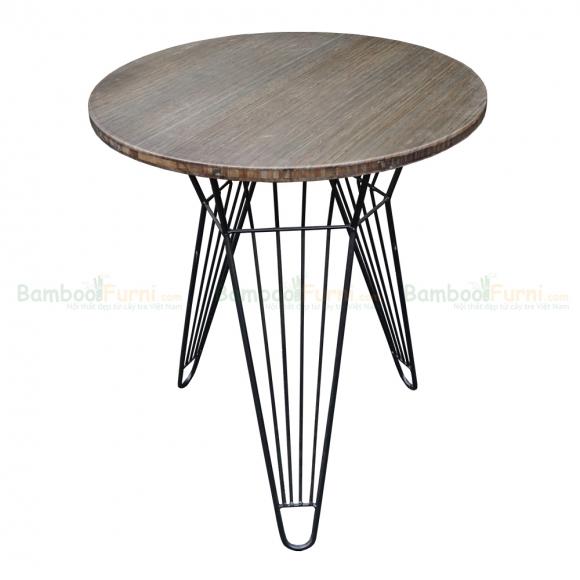 CFB002 - Bàn CafeBamboo tròn 60cm màu nâu chân sắt Lap
