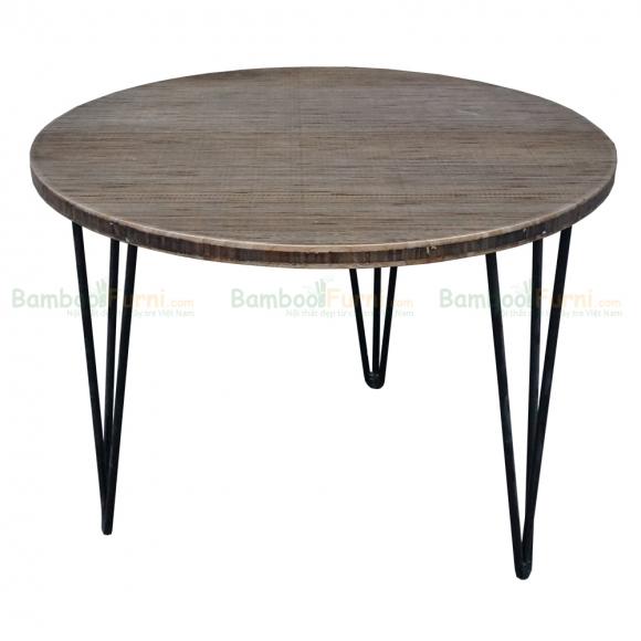 TB002- Bàn TeaBamboo màu nâu tròn 60cm chân sắt Hairpin cao 45cm