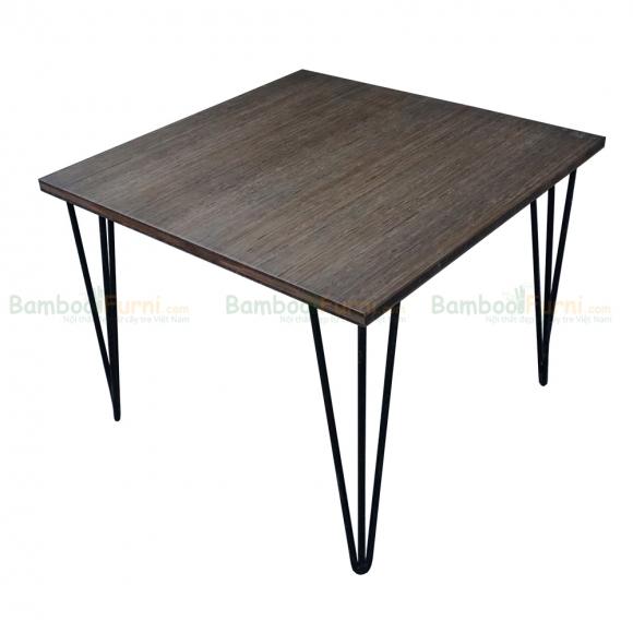 TB003- Bàn TeaBamboo màu nâu vuông 60cm chân Hairpin 45cm