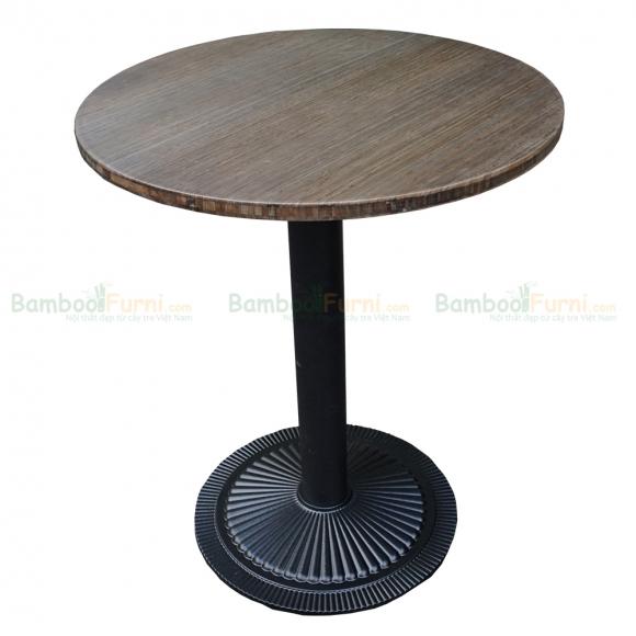 CFB005- Bàn CafeBamboo tròn 60cm màu tự nhiên chân gang đúc