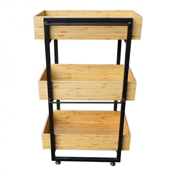BFTK006- Kệ gỗ tre 3 tầng khung sắt cho nhà bếp (50x34x80cm)