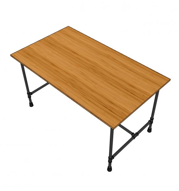 BFBA003 - Bàn ăn gỗ tre 80x140cm chân ống nước