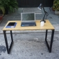 SB38002ac- Bàn làm việc SBamboo ghép nghiêng 1.2mx60cm chân sắt 25x50 lắp ráp