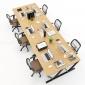 BFVB013 - Bàn làm việc cụm 6 VBamboo 360x120cm lắp ráp