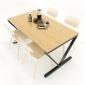BFBA018 - Bàn ăn gỗ tre chân sắt chữ V 140x80cm